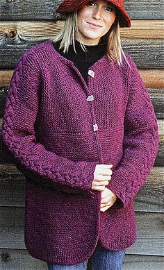 Ravelry: Hand-To-Hand Cardigan, Adult pattern by Elizabeth Zimmermann...cable up sleeve