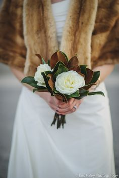 Garden Rose and Magnolia Leaf Simple Bridal Bouquet. Winter Wedding photo by Eri… Garden Rose and Magnolia Leaf Simple Bridal Bouquet. Winter Wedding photo by Eric Foley. Simple Bridesmaid Bouquets, Small Bridal Bouquets, White Wedding Bouquets, Flower Bouquet Wedding, Bridesmaid Ideas, Wedding Flower Design, Wedding Flower Inspiration, Floral Wedding, Wedding Blush