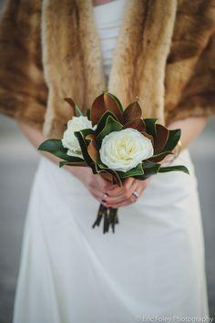 Garden Rose and Magnolia Leaf Simple Bridal Bouquet. Winter Wedding photo by Eric Foley. Hartford Club CT Wedding