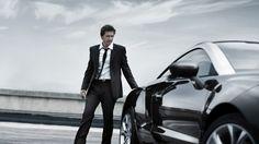 Wallpaper man, tuxedo, car, style