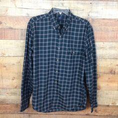 J.CREW Men's Plaid Button Down LS Shirt Brushed Twill Slim-Fit Gray Teal Size L #JCrew #ButtonFront