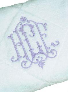 monogrammed bath towels  via leontinelinens.com