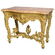 Fine Regence or Early Louis XV Giltwood and Marble-Top Console Table | From a unique collection of antique and modern console tables at https://www.1stdibs.com/furniture/tables/console-tables/