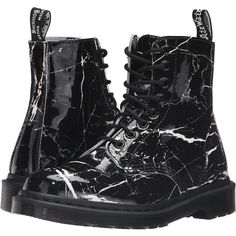 Dr. Martens Pascal Marble 8-Eye Boot (Black Patent Marble) Women's... ($125) ❤ liked on Polyvore featuring shoes, boots, zapatos mujer, black boots, black shoes, slip resistant boots, black patent boots and slip resistant shoes