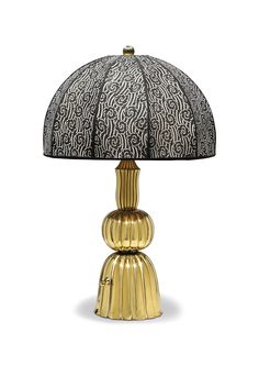 JOSEF HOFFMANN (1870-1956) A Brass Table Lamp, designed 1919 with fabric shade; executed by the Wiener Werkstätte, partial Wiener Werkstätte stamp and JH monogram