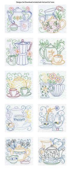 Vintage Embroidery Designs Line Art Tea Pots Embroidery Machine Design Details - Love the patterns for kitchen towels. Vintage Embroidery, Embroidery Applique, Cross Stitch Embroidery, Machine Embroidery Designs, Embroidery Sampler, Embroidery Tattoo, Embroidery Scissors, Simple Embroidery, Embroidery Software