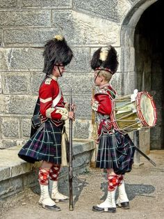 Sargent and drummer boy of the 78th Highlanders at Fort George Citadel a National Historic Site of Canada in Halifax, Nova Scotia picture taken by Bob Jagendorf