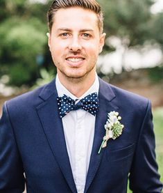 George & King bespoke wedding suits - Navy wedding suit with polka dot bow-tie