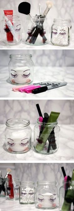DIY MAKEUP CRAFTS DIY Sharpie Make Up Storage Jars. These sharpie jars look super cute in their simplicity when place in your bathroom or vanity. Super easy, fun and quick to make in several minutes. Diy Makeup Organizer, Diy Makeup Storage, Make Up Storage, Makeup Organization, Diy Storage, Storage Ideas, Storage Organizers, Bathroom Organization, Bathroom Storage