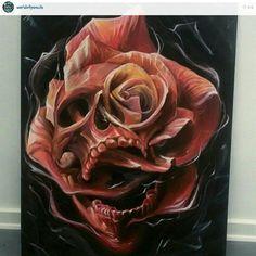 Skull Rose Tattoos, Flower Tattoos, Body Art Tattoos, Hand Tattoos, Sleeve Tattoos, Skull Tattoo Design, Tattoo Designs, Tattoo Sketches, Tattoo Drawings
