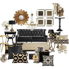 Black and Gold Living Room by chloeg01 on Polyvore featuring interior, interiors, interior design, home, home decor, interior decorating, Universal Lighting and Decor, Jayson Home, OKA and Ethan Allen