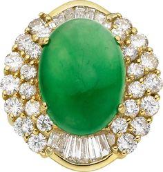 Estate Jewelry:Rings, Jadeite Jade, Diamond, Gold Ring. ...