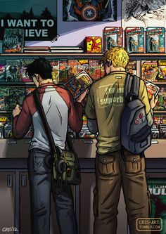 Billy and Teddy (Young Avengers) browsing a comic book store, I love the nod to X-files!!