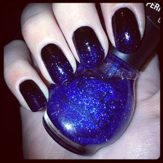#Ombre #sparkle #nails #OPI #black and #blue