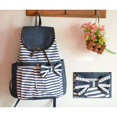 Wow! Fashion College Navy Bow Striped Backpacks only $33.9 from ByGoods.com! I like it so much!!