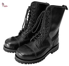 10 Trous springerstiefel ranger bottes en acier avec 42 (noir) - Chaussures unbekannt (*Partner-Link)