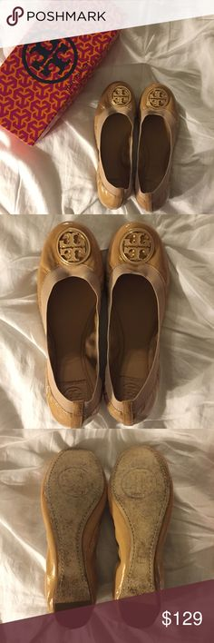 """Authentic Tory Burch Caroline Flats Authentic patent leather Tory Burch Caroline flats. Color is """"Camellia Pink"""" but looks nude in person. Gold logo detail. Elastic makes them very comfortable. Good condition. Come with original box. Tory Burch Shoes Flats & Loafers"""