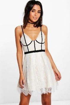 #boohoo Kat Piping Bustier Skater Dress - ivory DZZ67818 #Boutique Kat Piping Bustier Skater Dress - ivory