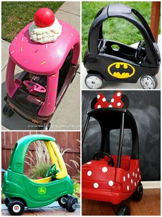 Every summer I love to go garage sale huntingand always see old dingy little tike cars! Now the next time I see one i'm going to bring it home and give it a makeover! I rounded up the most creative cozy coupes I could find on Pinterest so click on the links under the photos …