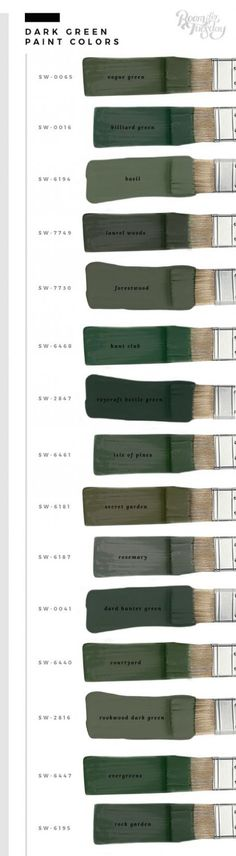 My Favorite Green Paint Colors - Room for Tuesday In honor of St. Patrick's Day this weekend, I'm sharing my favorite green paint colors. Whether you're painting a wall or furniture, save these swatches! Green Paint Colors, Paint Colors For Home, Wall Colors, House Colors, Deco Design, House Painting, Painting Walls, Diy Painting, Painting Canvas