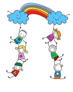 Des enfants heureux avec arc en ciel – Millions of photos, vectors, videos and creative music files for your inspiration and projects. Art Drawings For Kids, Drawing For Kids, Easy Drawings, Art For Kids, Happy Children's Day, Happy Kids, Stick Figure Drawing, Kids Background, Illustration Noel