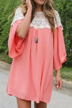 Casual U Neck 3/4 Sleeve Lace Splicing Loose-Fitting Women's Dress Long Sleeve Dresses | RoseGal.com Mobile