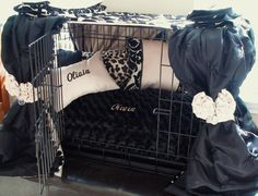 Beautiful Damask Dog Crate Ensemble 6 pieces Champagne by lmikel, $165.00