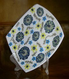 """Decorative Wall Plate """"Abstraction"""" Blue Yellow Flowers made of polymer clay Interior decoration"""