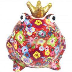 Pomme Pidou Spardose FROSCHKÖNIG FREDDY rot mit Blumen #pommepidou #spardose #sparfigur #keramiksparfigur #froschkönig #freddy #froschspardose