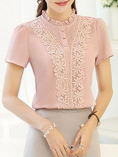 Band Collar Patchwork Lace Short Sleeve Blouse Find latest women's clothing, dresses, tops, outerwear, and other fashion clothing and enjoy the worldwide shipping # Kurta Designs, Blouse Designs, Kim So Hyun Fashion, Hijab Fashion, Fashion Dresses, Blouse And Skirt, Blouse Styles, Ladies Dress Design, Short Sleeve Blouse