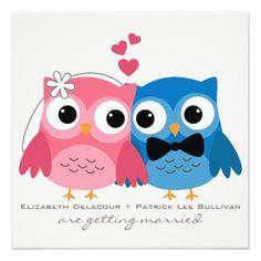 Owl Wedding Invitations Groom Owl and Bride Owl Cute Wedding Invitation