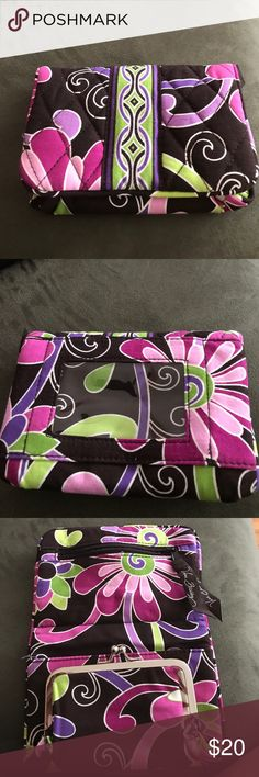 Ver Bradley wallet! Vera Bradley wallet in purple brown and pink! Great little wallet with key chain used 1 time!! Excellent condition!! Vera Bradley Bags Wallets