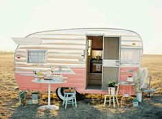 "Vintage Campers are making a huge comeback. I've been seeing them all over the wedding circuit, in photoshoots, or for ""glamping"" (glamorou. Vintage Campers, Camping Vintage, Vintage Rv, Retro Campers, Vintage Caravans, Vintage Travel Trailers, Retro Caravan, Happy Campers, Caravan Ideas"