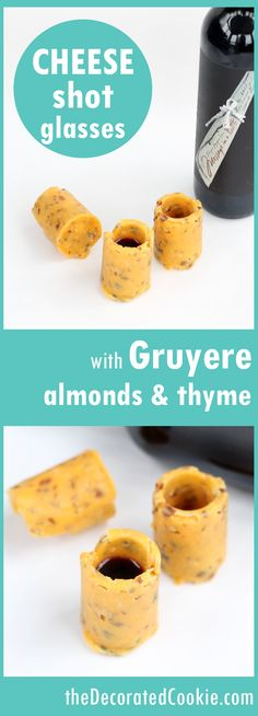 CHEESE shot glasses for wine -- with cheddar, Gruyere, almonds and thyme --VIDEO how-tos.