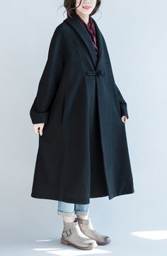 2016 black woolen cape coats plus size maxi coat trench windbreakers