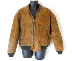 Men Leather Bomber Jacket Suede Bomber Jacket by TheVilleVintage, $50.00