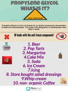 Propylene Glycol | @Piktochart Infographic I get why this is in mascara but my food??? Really???  http://www.angelhealthinc.com