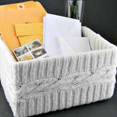 Here's a box that you don't come across every day. Check out this Easy Upcycled Sweater DIY Box!