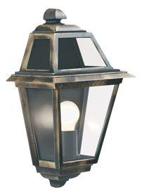 Searchlight IP44 New Orleans Outdoor Half Lantern, Black/Gold - 1523