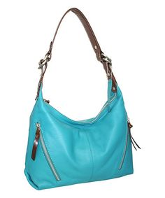 Another great find on #zulily! Turquoise Barbara Ann Leather Hobo #zulilyfinds