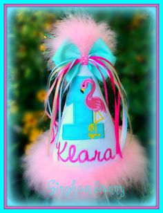 Flamingo First Birthday Hat,  You Choose Colors, Embroidered, Monogram, Boutique Quality  by GINGHAM BUNNY EMBROIDERY