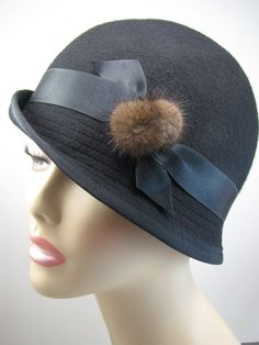 Black Wool Felt Hat with Silk ribbon and Brown Fur by SarahPadgham, $57.00