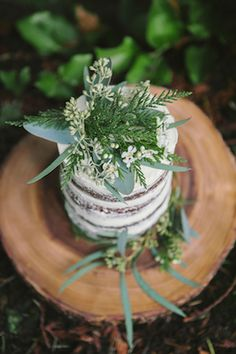 Naked cake with greenery topper | Simply Rose Photography | see more on: http://burnettsboards.com/2015/01/forest-fern-evergreen-bridal-session/