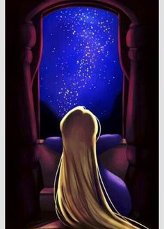 Young Rapunzel looking at the floating lanterns from her tower. (Yes I know I forgot to draw the shutte. The Floating Lights Gif Disney, Disney Tangled, Disney Fan Art, Disney And Dreamworks, Disney Magic, Disney Pixar, Disney Characters, Deco Disney, Arte Disney
