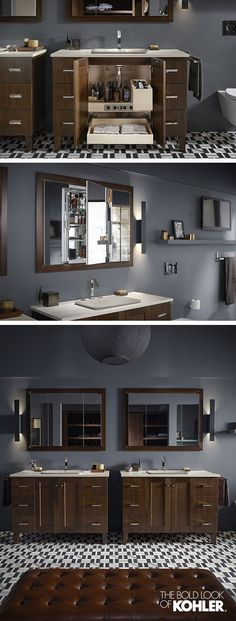nice The ideal grooming space for busy couples. Perfect coordination between the mirr... by http://www.tophomedecorideas.space/bathroom-designs/the-ideal-grooming-space-for-busy-couples-perfect-coordination-between-the-mirr/