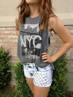 studded shorts + graphic tee = love.