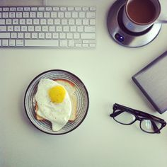 What my usual work morning looks like. Can't live w/o the cup warmer. // Photo by @bonnietsang • Instagram