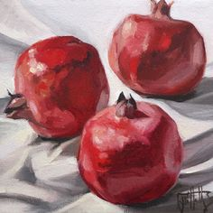 Original contemporary oil paintings of thought provoking portraits and whimsical still life as well as landscapes painted en plein air. Fruit Painting, Gouache Painting, Oil Painting Abstract, Ceramic Painting, Watercolor Art, Pomegranate Art, Still Life Fruit, Fruit Art, Art Sketchbook