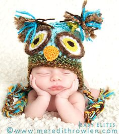 Blue Owl Hat PICK A SIZE, Crochet owl hat with fun earflaps and braids, Great for a newborn photo prop