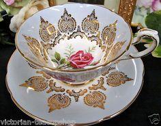 Paragon Baby Blue Tea Cup and Saucer Pink Roses Gold Gilt Work Teacup | eBay ✿⊱╮♥❤♥ ✿⊱╮